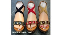 High Heels Leather Wedges Beads Fashion
