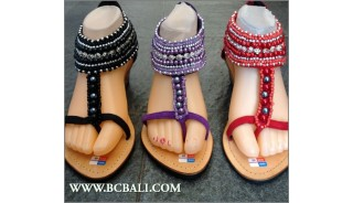 Leather Sandals Wedges Seeds Beading Casual