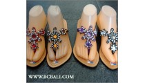 Wedges Slippers Bali Handmade Leather Sequins