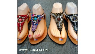 Bali Strappy Sandals Slippers Beads Leathers