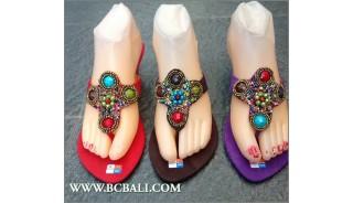 Indian Bead Stone Suede Wedges Footwear