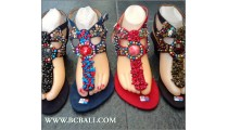 Stone Beaded Wedges Sandals Suede Bali