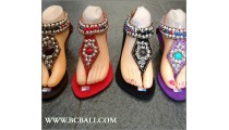 Wedges Full Beading Fringed Sandals