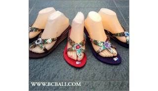 Women Sandal Semi Wedges Sequins Suede