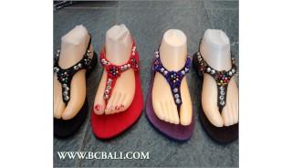 Beaded Sandals Slipper Strappy Handmade