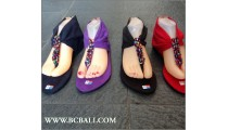 Bohemia Leather Suede Slippers Sandal Beads