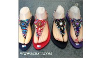 Bohemian Beaded Sandals Slippers Stretched