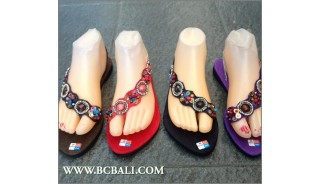 New Slippers Stretch Sandals Beaded