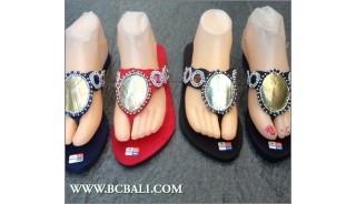 Slippers White Shells Sandals Bali