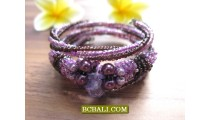 Balinese Cuff Bracelets Spiral with Stone