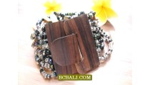 Balinese Stretch Beading Wood Organic Buckles