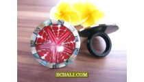 Abalone Shell With Red Coral Finger Rings Resin