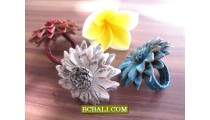Bali Genuine Leather Rings Solid Color Flowers