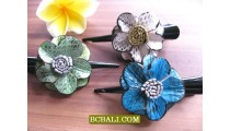 Balinese Genuine Leather Hair Accessories Clips Flowers