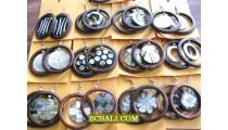 Ethnic Wooden Earrings with Seashells Hand Made