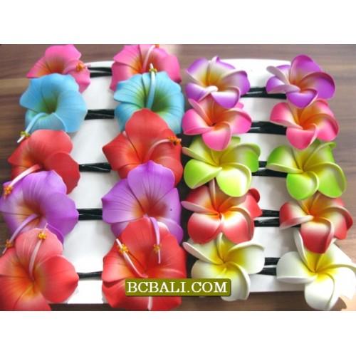 Bali Flower Hair Clip Hair Accessories 4 Piece Ladies Summer Colourful Hippy Festival NEW