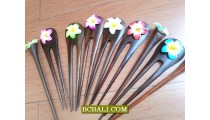 wood hair stick tropical flowers designs for women fashion