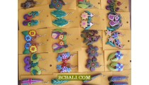 Hand Carved Wooden Earrings Painting Multi Color