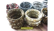 Beads Stones Cuff Bracelets Ethnic Women Fashion