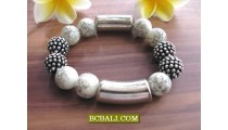 Bali Beads Stone Bracelets Steels Stretching