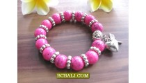 Exotic Stone Beads Bracelets Stretch With Charm