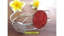 Red Coral Shells Bracelets Cuff Stainless Steels Designs