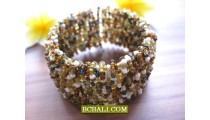 Mixed Glass Beads Cuff Bracelets Multi Seeds