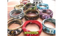 Cuff Beads Bracelets Spiral Multi Coloring Free Shipping